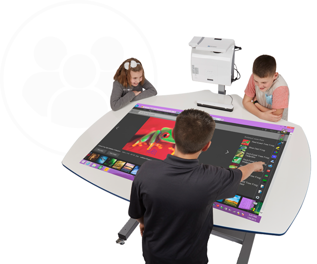 Students Using the DeskBoard Interactive Table with Projector-Boxlight