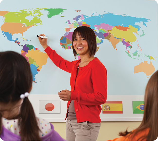 Teacher using a Boxlight Classroom Projector-Short-throw with MimioTeach