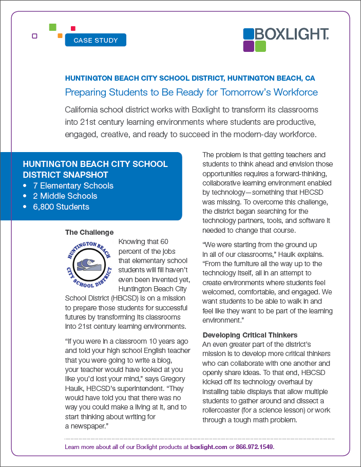 CaseStudy Huntington Beach City School District Huntington Beach CA